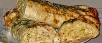 Лаваш с сыром и куриным филе: в духовке 5