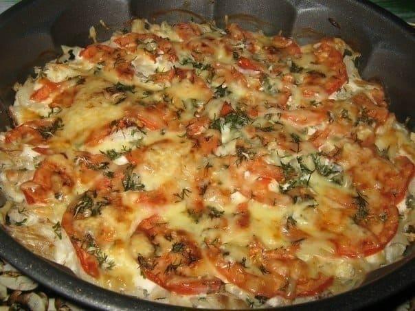 Баклажаны с овощами и сыром