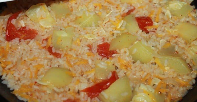 Овощное рагу: кабачки тушеные с рисом 8