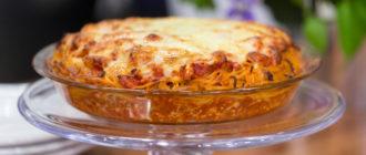 Вкусный Пирог с грибами и ветчиной без возни с тестом 19