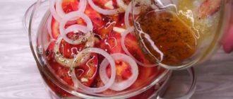 Закуска из помидоров и лука. Секрет кроется в особом маринаде, который делает эту закуску невероятно вкусной 3