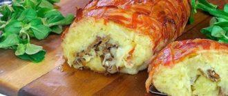 Картофельный пирог из бекона. Вкусная несладкая выпечка с сыром и грибами 5