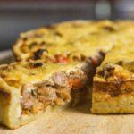 Открытый мясной пирог. Пирог получается вкусный, сытный и подойдёт для перекуса 8