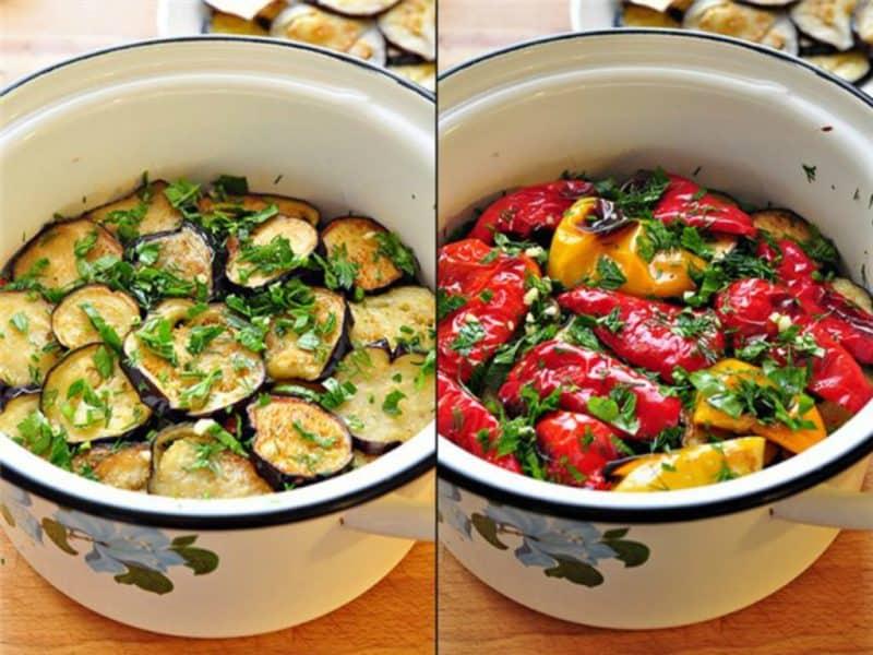Закуска из перцев и баклажанов. Вкусное блюдо из сезонных овощей 12