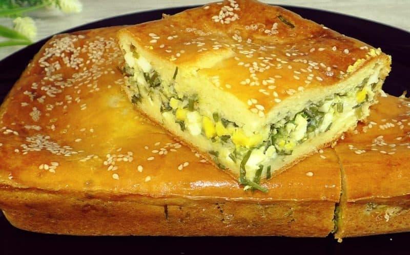 Заливной пирог с луком и яйцами. Нежная закуска вместо пирожков 1
