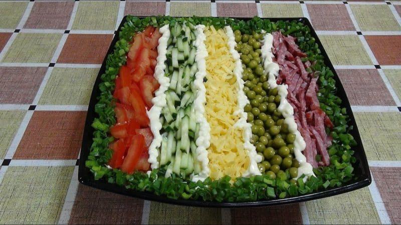 Салат Елисейские поля. Красивый салат, который удивит вас насыщенным вкусом