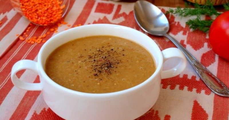 Суп-пюре с баклажанами томатом и чечевицей. Очень сытное первое блюда 1