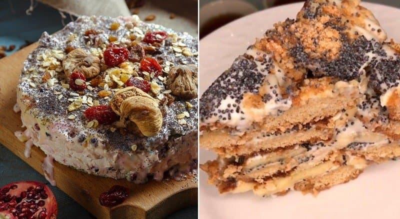 Торт из печенья со сметаной и маком. Это лакомство соберёт всю семью за столом 10