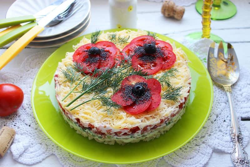 Салат Красные маки. Красивый и очень вкусный салат 1