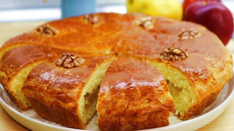 Сдобный пирог с яблоками. Вкусный десерт для семейного чаепития 16