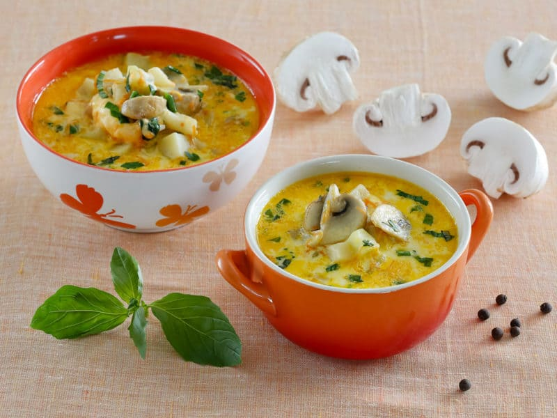 Сырно-грибной суп с курочкой