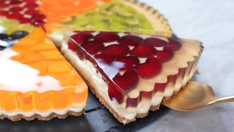 Тарт с медовым желе и фруктами. Лёгкий летний десерт 9