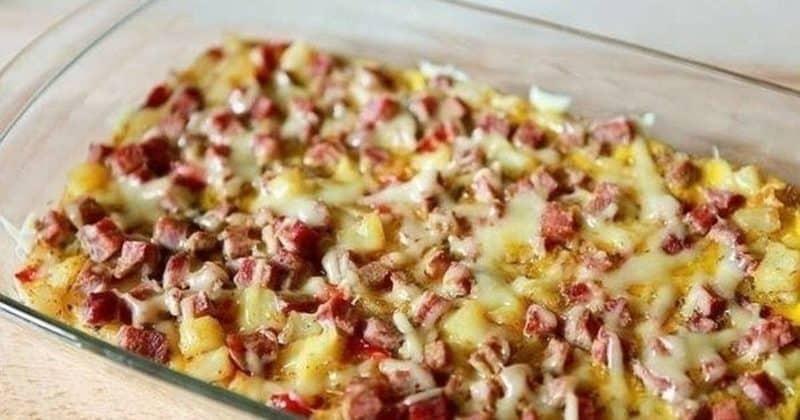 Фриттата по-испански. Аппетитное блюдо с ветчиной, картофелем и перчиком 10